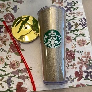 Rare Gold Sparkle Holiday Starbucks Tumbler